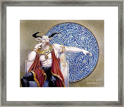 Minotaur With Mosaic Framed Print by Melissa A Benson