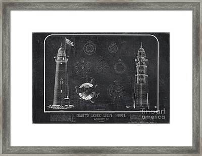 Framed Print featuring the drawing Minot's Ledge Light House. Massachusetts Bay Near Cohasset  by Vintage