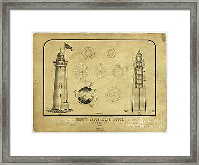 Framed Print featuring the drawing Minot's Ledge Light House. Massachusetts Bay by Vintage