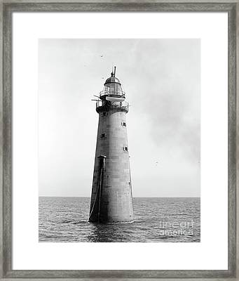 Framed Print featuring the photograph Minot's Ledge Lighthouse, Boston, Mass Vintage by Vintage