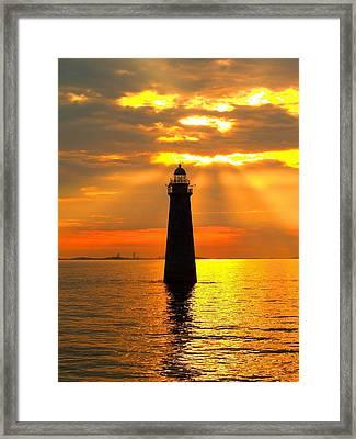 Minot's Ledge Lighthouse Framed Print by Joseph Gillette