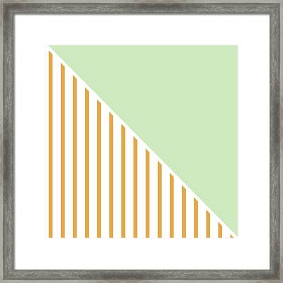 Mint And Gold Geometric Framed Print by Linda Woods