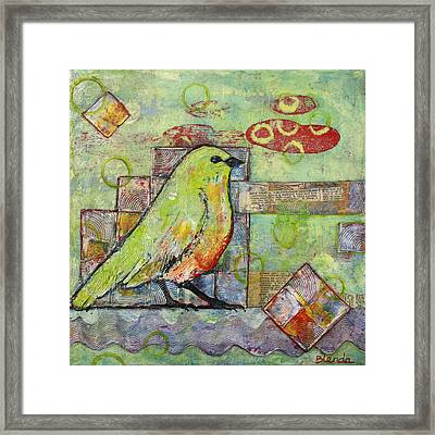 Mint Green Bird Art Framed Print