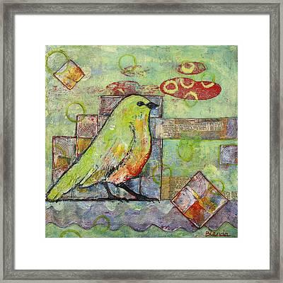 Mint Green Bird Art Framed Print by Blenda Studio