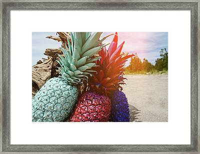 Mint, Red, Blue Framed Print by Happy Home Artistry