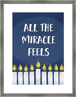 Miracle Feels- Hanukkah Art By Linda Woods Framed Print