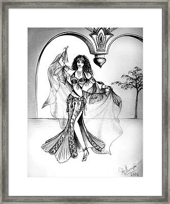 Miriam, Belly Dancer With Veil Framed Print