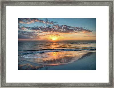 Framed Print featuring the photograph Mirror At Sunrise by Debra and Dave Vanderlaan