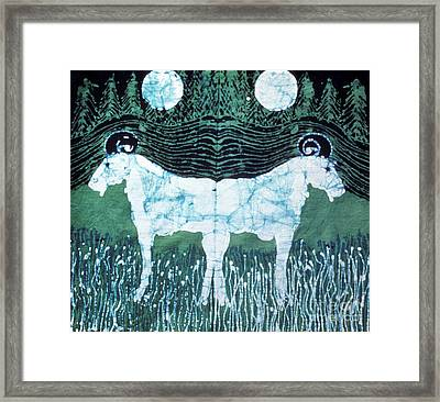 Mirror Image Goats In Moonlight Framed Print by Carol Law Conklin