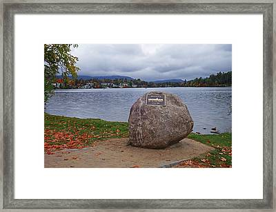 Mirror Lake Ironman Rock Lake Placid Ny Framed Print by Toby McGuire