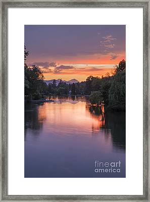 Mirror Pond Sunset In Summer Framed Print by Twenty Two North Photography
