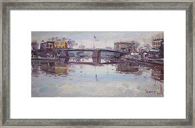 Mirror Reflection Of Gateway Harbor Framed Print