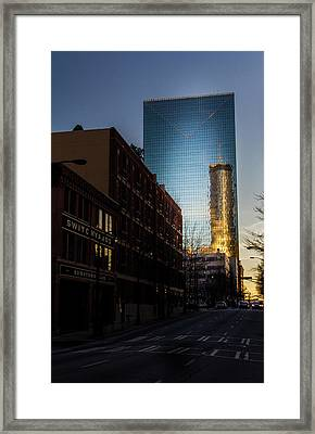 Mirror Reflection Of Peachtree Plaza Framed Print