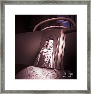Mirror View Of A Traditional White Wedding Dress Framed Print by Jorgo Photography - Wall Art Gallery