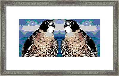 Mirrored Bird Series Peregrine Falcons Chinese Lantern Smudge Effect Framed Print
