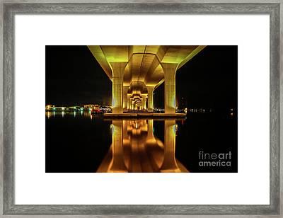 Mirrored Bridge Reflection Framed Print
