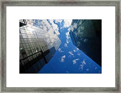 Mirrored Buildings Framed Print by Mandy Wiltse