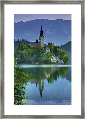 Mirrored Church At Sunrise Framed Print