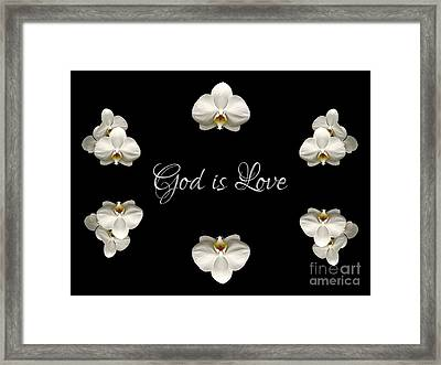 Mirrored Orchids Framing God Is Love Framed Print by Rose Santuci-Sofranko