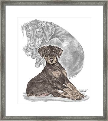 Mischief ... Moi? - Doberman Pinscher Puppy - Color Tinted Framed Print by Kelli Swan