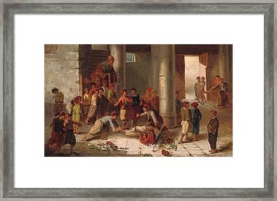 Mischief In The Schoolyard Framed Print by Julius Joseph Gaspard Starck