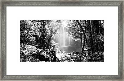 Framed Print featuring the photograph Misol Ha Waterfall Mexico Black And White by Tim Hester