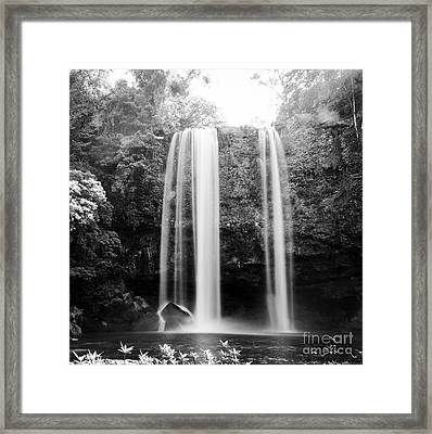 Framed Print featuring the photograph Misol Ha Waterfall Palenque Black And White by Tim Hester
