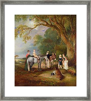 Miss Catherine Herrick With Her Nieces And Nephews Framed Print by John E Ferneley
