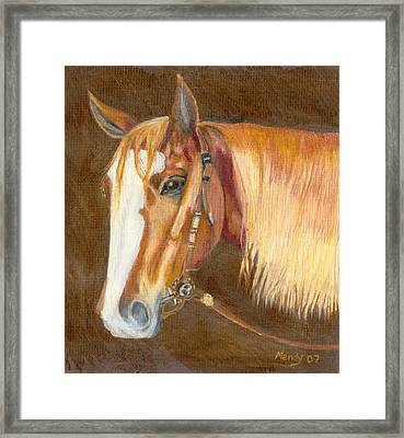 Miss Cow Chex Framed Print by Mendy Pedersen