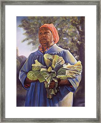 Miss Emma's Collard Greens Framed Print by Curtis James