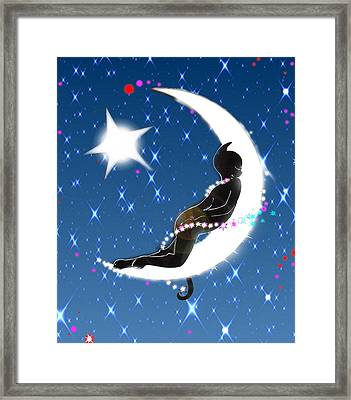 Miss Fifi And Her Sister The Moon Framed Print by Silvia  Duran
