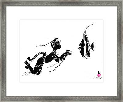 Miss Fifi And The Angel Fish Framed Print by Silvia  Duran
