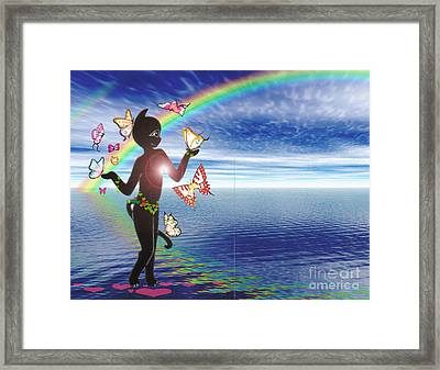 Miss Fifi And The Rainbow Framed Print by Silvia  Duran