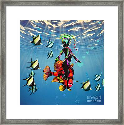 Miss Fifi New Friends In The Ocean Framed Print by Silvia  Duran
