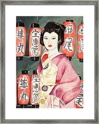 Miss Hanamaru At Osaka Festival Framed Print by Judy Swerlick
