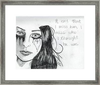 Miss Who He Was Framed Print by Rebecca Wood