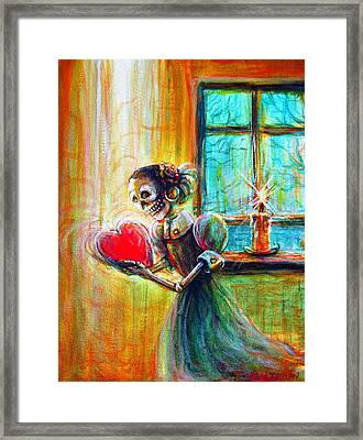 Framed Print featuring the painting Missing You by Heather Calderon