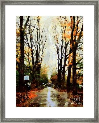 Framed Print featuring the photograph Missing You - Rainy Day Park by Janine Riley