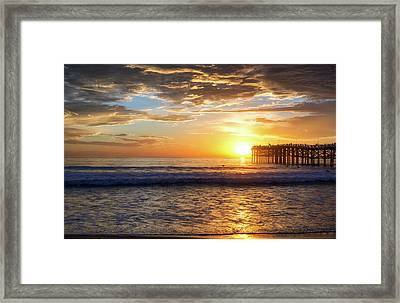Mission Beach Sunset Framed Print by Joseph S Giacalone