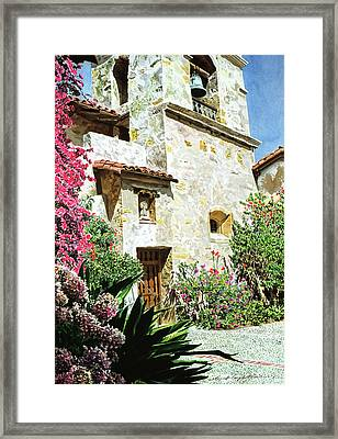 Mission Carmel Bell Tower Framed Print by David Lloyd Glover