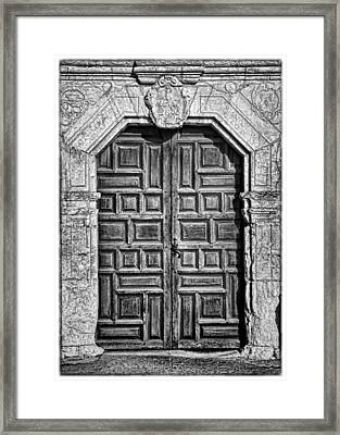 Mission Concepcion Doors - Bw W Border Framed Print