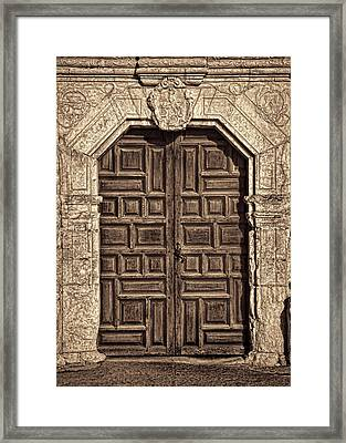 Mission Concepcion Doors - Sepia Framed Print by Stephen Stookey