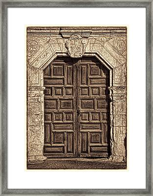 Mission Concepcion Doors - Sepia W Border Framed Print by Stephen Stookey