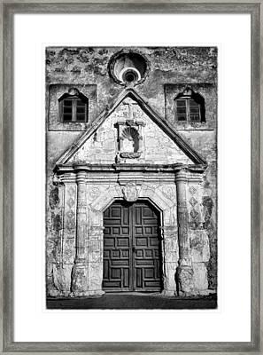 Mission Concepcion Entrance - Bw W Border Framed Print