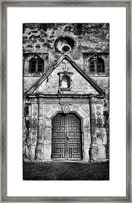 Mission Concepcion Front - Classic Bw W Border Framed Print by Stephen Stookey