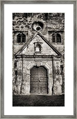 Mission Concepcion Front - Toned Bw Framed Print