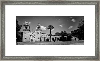 Mission Concepcion Panoramic - Bw Framed Print by Stephen Stookey