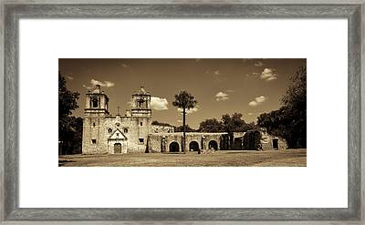 Mission Concepcion Panoramic - Sepia Framed Print by Stephen Stookey