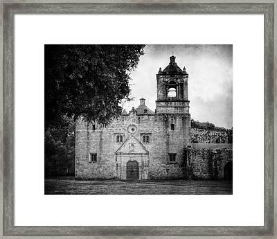 Mission Concepcion San Antonio Bw Framed Print by Joan Carroll