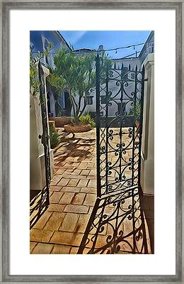 Mission Courtyard Framed Print